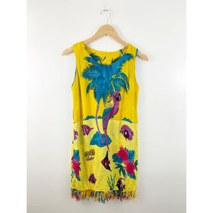 INGear Yellow Fringe Parrot Fish Cover Up Dress